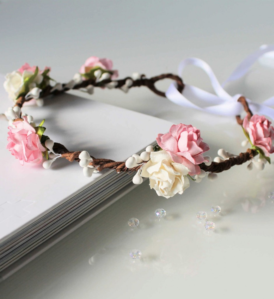 5 Pink Floral Crown