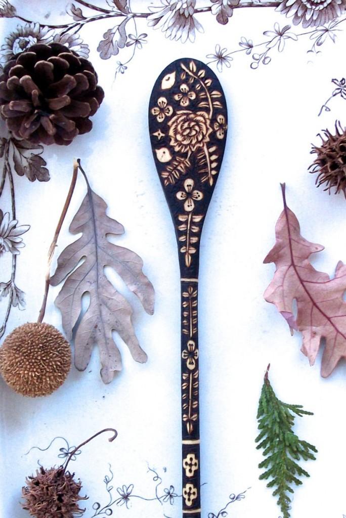 4 custom 10 inch wooden flower bird fern spoon