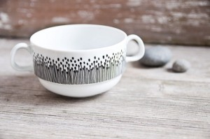 Hand-Painted Vintage Soup Bowl by RoomforEmptiness on Etsy