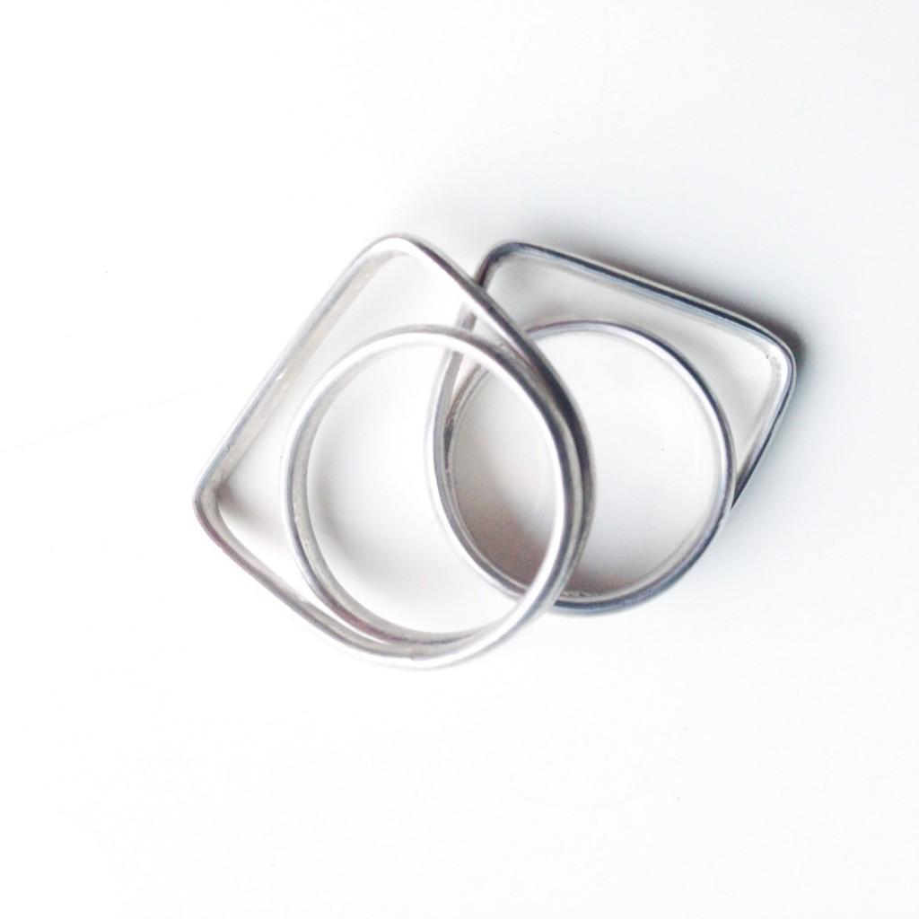 4 Geometrical Silver Ring