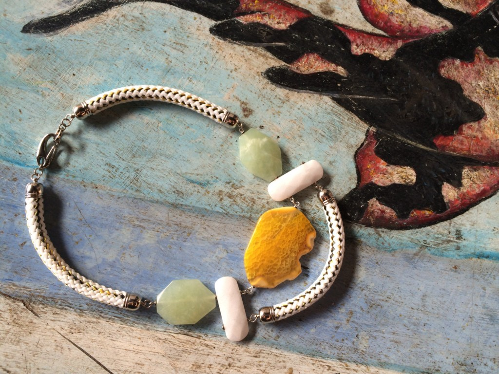 2 Ageto Yellow Agate Light Jade Statement Necklace