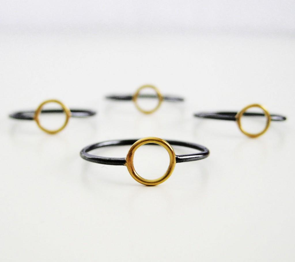 2 Black 18k Gold Circle Ring
