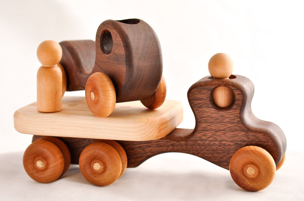 3 Wooden Toy Flatbed Truck and Kids First Car