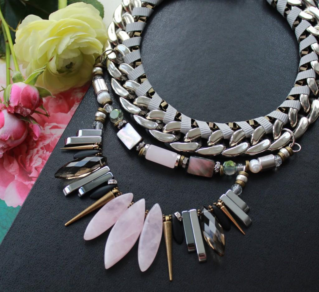 4 Rose quartz necklace