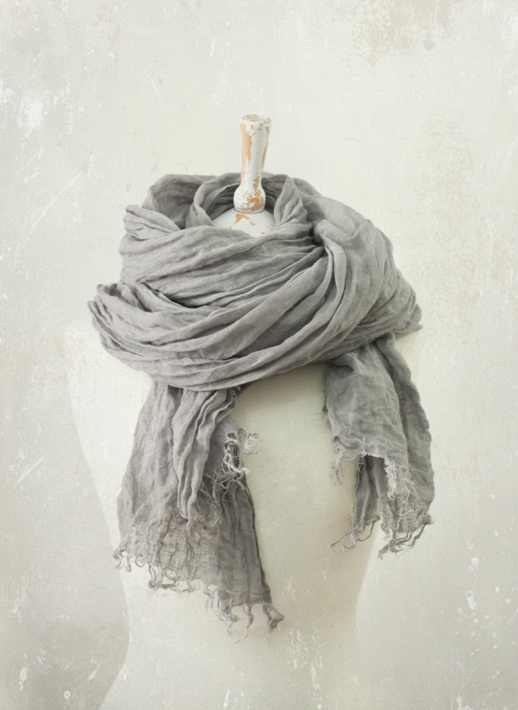 2 FROST GREY LINEN scarf