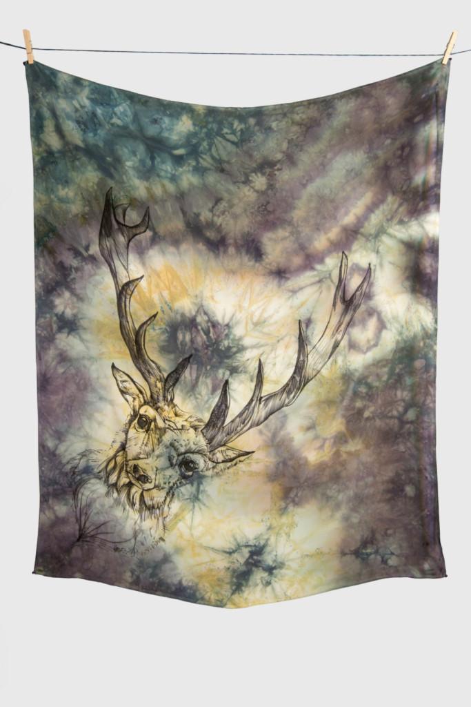 4 DEER TOTEM ANIMAL Hand Dyed Silk Scarf