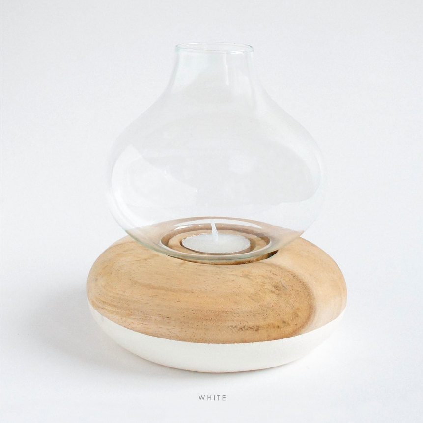 5 Wood Round Candle holder