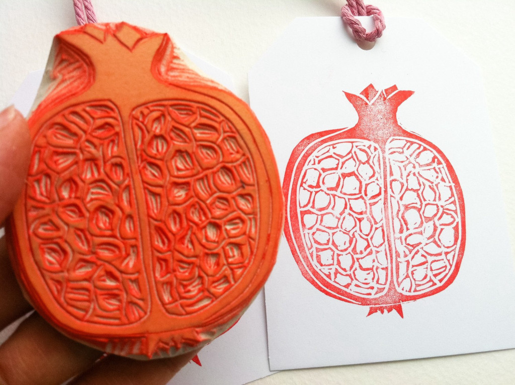 5 pomegranate hand carved rubber stamp