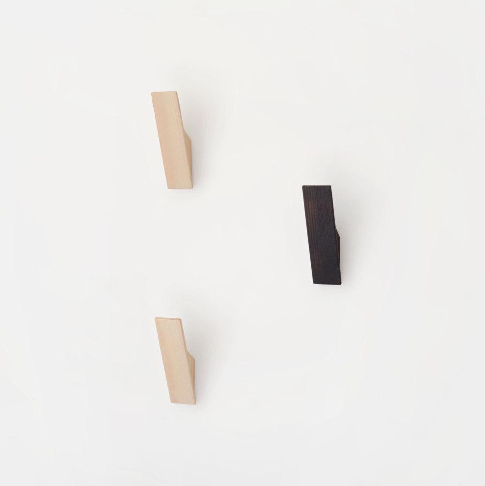 2 Wooden Wall Hooks