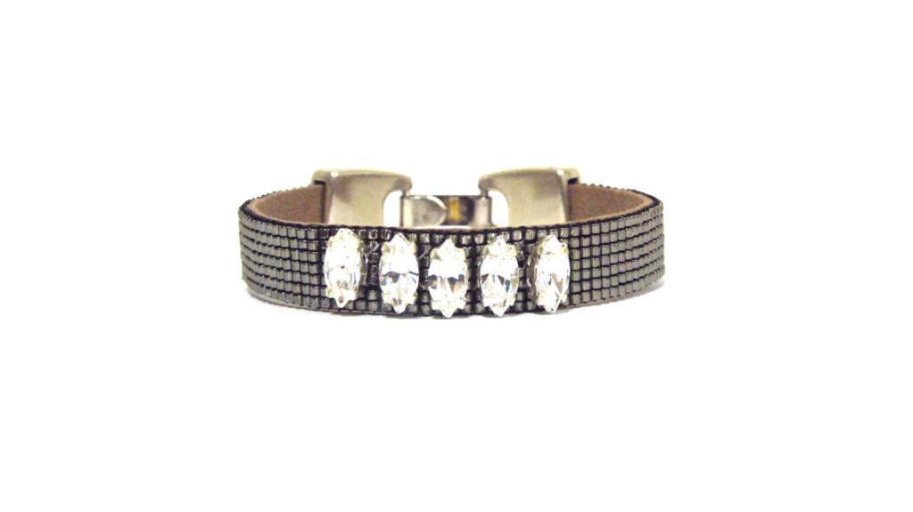 5 Luxury swarovski embellished bead loom bracelet