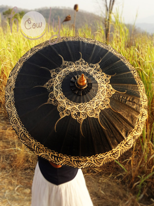 1 Hand Painted Black Parasol