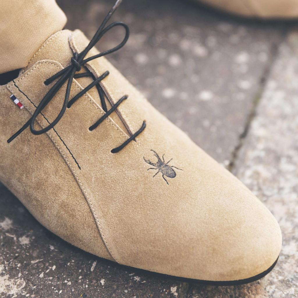 1 Beige rock mens leather shoes