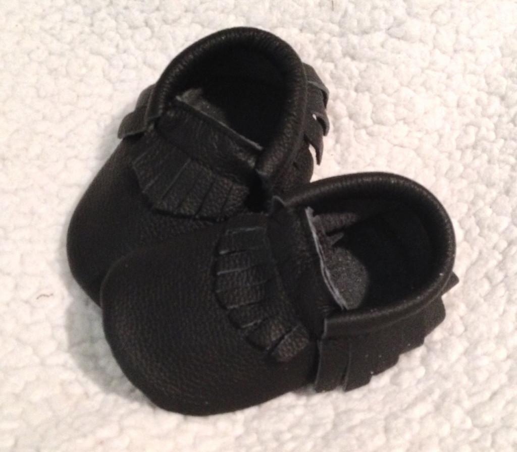2 Black Fringe Leather Baby Moccasins