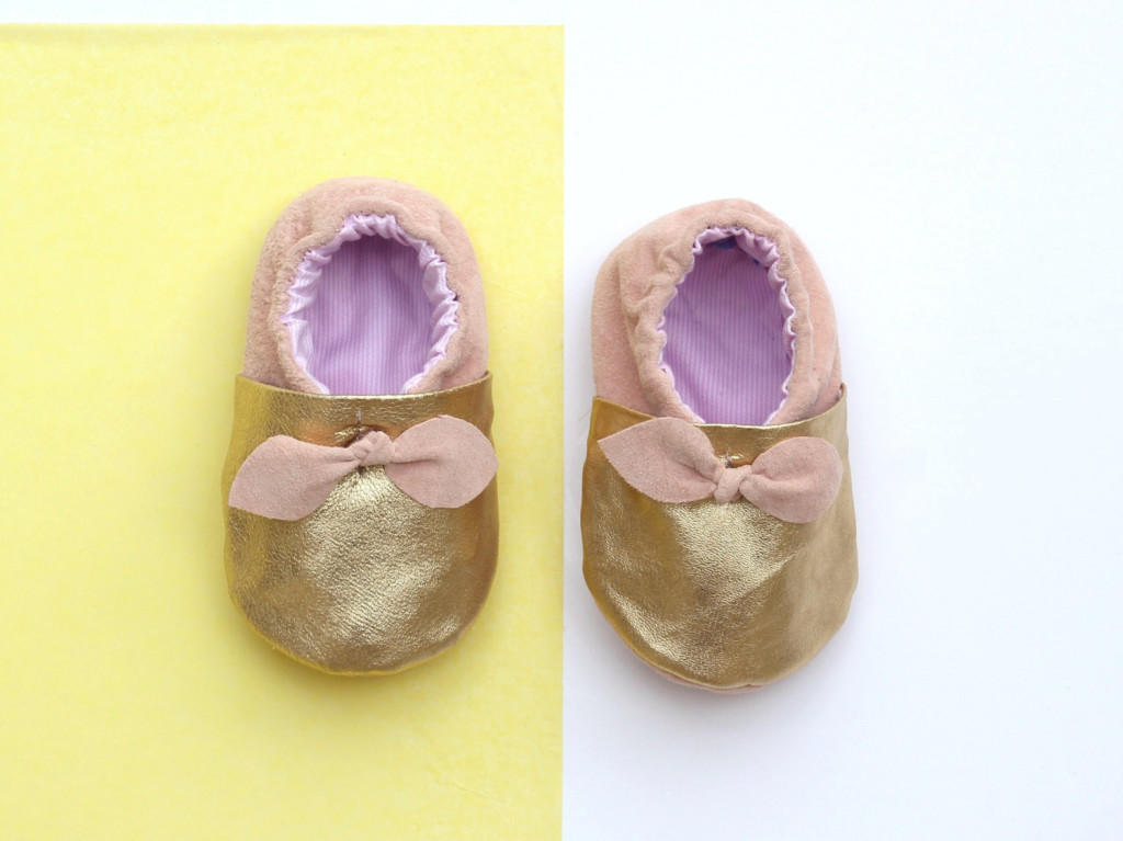 2 Gold Leather Baby Shoes