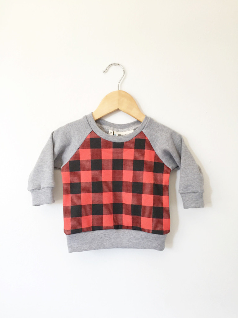 2 Organic buffalo plaid panel sweatshirt