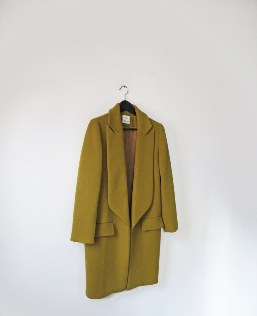 3 Acid olive green open front wool coat