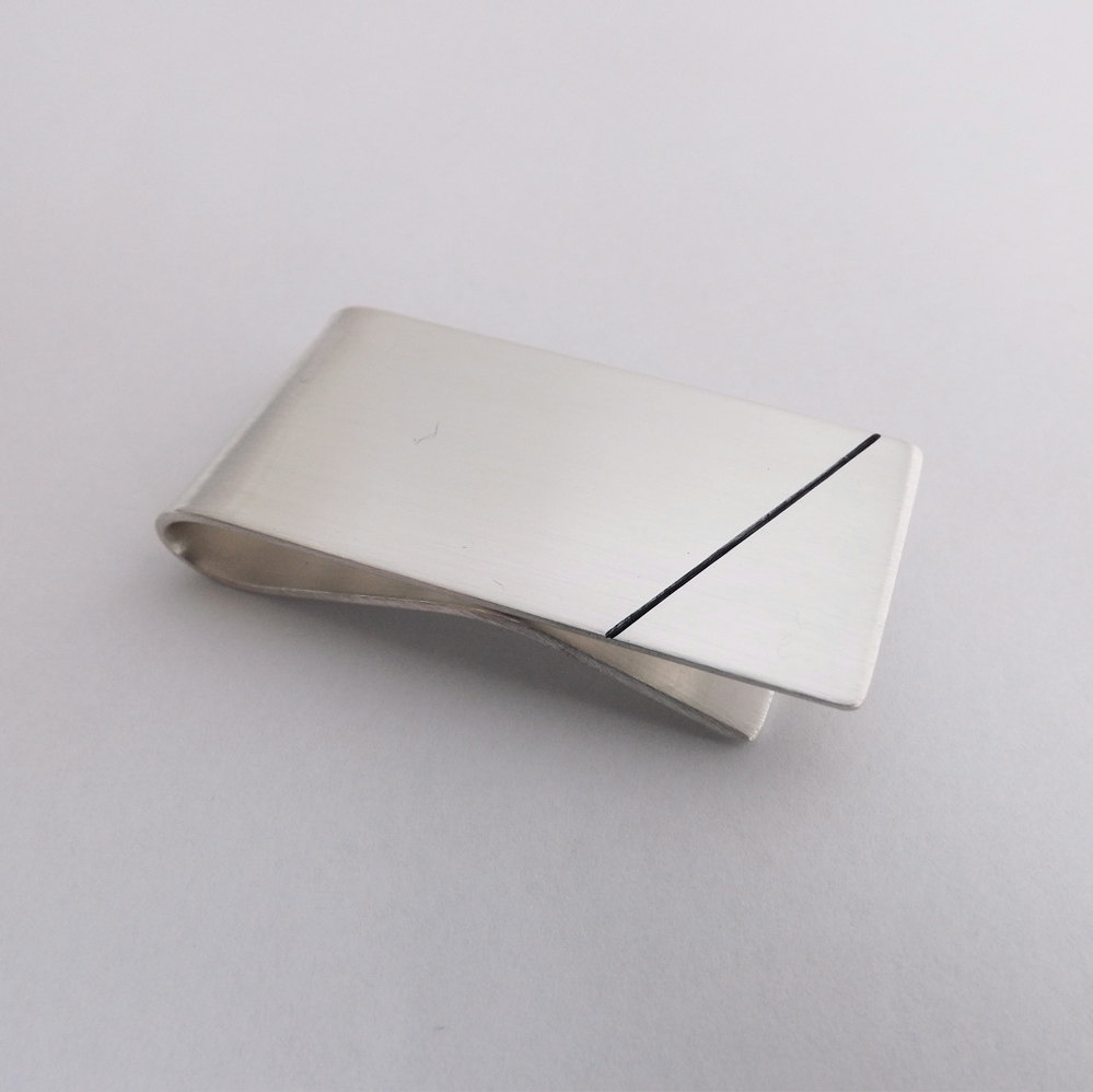 4 Solid Silver Money Clip with Lines
