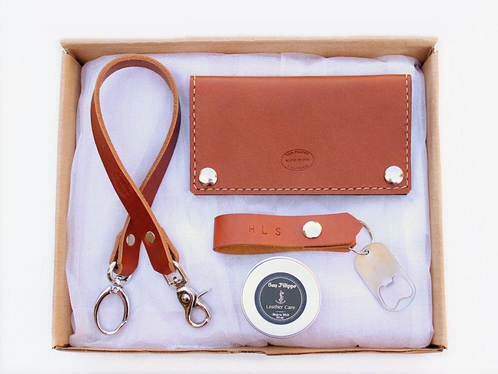5 Men's Leather Wallet Gift Set