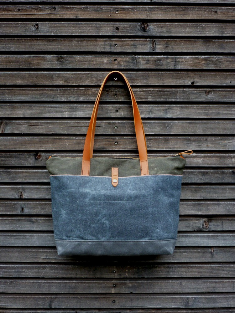 5 Tote bag in waxed canvas